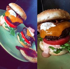 Juicy homemade burgers with comeback sauce, philadelphia, barbeque sauce, bacon and cheddar! Yummy ✌️