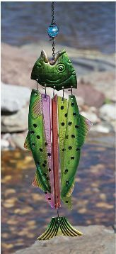Evergreen Glass and Metal Fish Windchime...could do the pieces of kitty