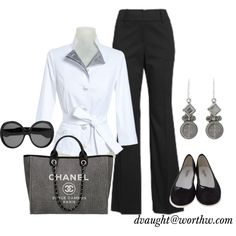 Great work outfit...I'd probably wear heels, but the flats look great too