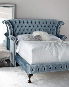 Haute House Carter Teal Queen Tufted Bed