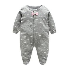 Weixinbuy Infant Baby Boys Girls Cotton Bowknot Snap-Up Romper Footie Clothes