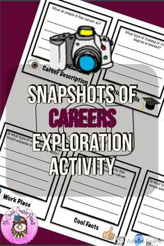 Snapshots of Careers Career Exploration, Career Education, Special Education, Elementary School Counselor, Elementary Schools, First Communion Cards, Career Day, Guidance Lessons, Career Development