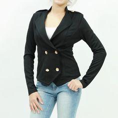 Sailor inspired button front long sleeve ponte jacket black