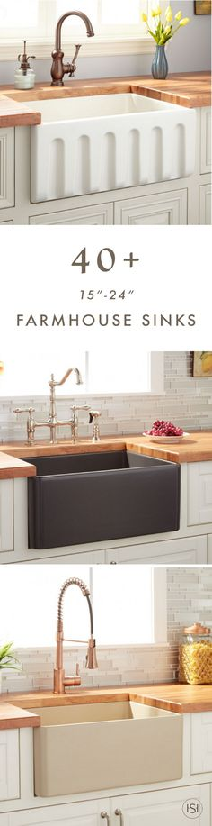 "We know you love farmhouse sinks. So, let all your kitchen renovation dreams come true by checking out this collection of more than forty 15""-24"" Farmhouse Sinks from Signature Hardware."