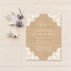 Lace and Burlap Printed Rustic Wedding Invitations//10% off -Use Coupon Code: cpin
