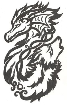 OH MY GODS I NEED THIS!!!! dragon and wolf celtic knot tribal