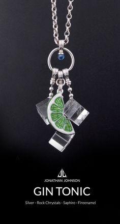 GIN TONIC #necklace #silver #rockchrystals #saphire #fireenamel #jonathanjohnson #jewelry #jewellery #gintonic #crafts #gifts
