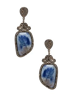Sapphire & Tourmaline Drop Earrings from From the Vault: Gemstones on Gilt