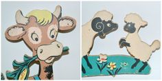 1950s Mother Goose Cows and Sheep Wall by KrisVintageClothing