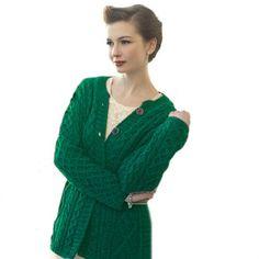 Irish Merino Wool A Line Aran Knit Cardigan - Buy New: $94.95