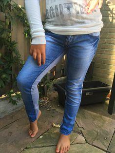 2 kanten legging grijs/spijkerstof