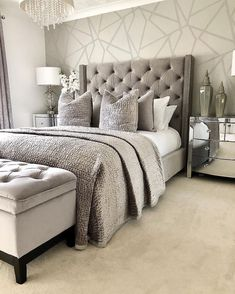 The New Angle On Master Bedroom Furniture Ideas Style Interior Design Just Released 76 Glam Bedroom, Stylish Bedroom, Home Decor Bedroom, Modern Bedroom, Feminine Bedroom, Bedroom Furniture, Classy Bedroom Ideas, Bedroom Ideas On A Budget, Bedroom Suites