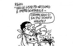 """Matteo Renzi e l'ostinazione del Tarallo  Al tarallo non gli fa schifo niente; e man mano che assorbe si gonfia, anzi … come si direbbe a Napoli: si abboffa!   E mentre si """"abboffa"""" noi stiamo lì a guardare"""