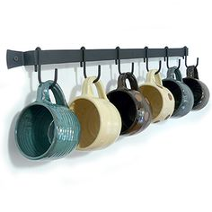 Wall-Mounted Wrought Iron Mug Rack, with 6 Cup Hooks. Hang on wall near kitchen, maybe a coffee/tea bar area? Kitchen Wall Design, Kitchen Decor, Kitchen Ideas, Kitchen Tips, Kitchen Hooks, Kitchen Shelves, Cupboards, Kitchen Utensils, Kitchen Gadgets