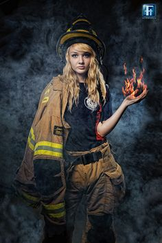 Volunteer Firefighter. Fire in hand is composited.