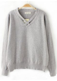 Grey Plain Round Neck Knit Sweater | I'd like to add this to a top I sew...love the neck detail
