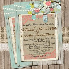 Mint and Coral, Burlap and Lace Wedding Invitation, Rustic, Wood fence,  Printable, Digital File, Personalized, 5x7, on Etsy, $15.00