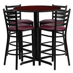 Flash Furniture 30 Round Mahogany Laminate Table Set with 4 Ladder Back Metal Bar StoolsBurgundy Vinyl Seat >>> Check out this great product.Note:It is affiliate link to Amazon.