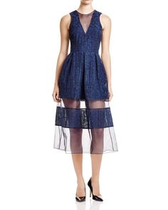 Timo Weiland V-Neck Sheer Stripe Dress - Bloomingdale's Exclusive
