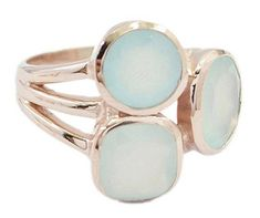Rose Gold Silver 925 starling ring chalcedony Ring,