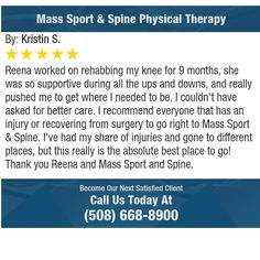 Reena worked on rehabbing my knee for 9 months, she was so supportive during all the ups...