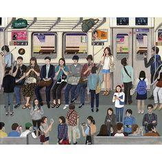 a subway scene in korea  most people look at their smart phones... 여기있는 내친구들 모두 같이 지하철 타는 날을 기다리며..