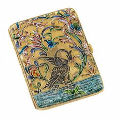 Russian Silver-Gilt and Cloisonné Enamel Cigarette Case, Nikolai Zverev, Moscow, Rectangular, enameled with an exotic bird wading in water amidst varicolored shaded flowers and foliage. Enamel Jewelry, Jewelry Art, Up In Smoke, Cigarette Case, Antique Boxes, Art Auction, Precious Metals, Antique Silver, Antiques