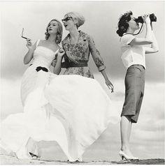 1950s, binoculars, black and white, dresses, fashion, girl