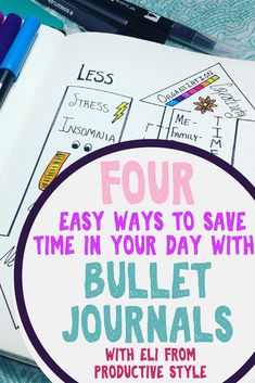 Four easy ways to save time in your day with bullet journals, with Eli from Productive Style helping everybody learn creative tips that will help you find more time in your schedule. Bullet journals and planner inspiration to make you a productivity fiend! #bulletjournal #savetime #timemangement #productive