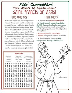 Saint Francis of Assisi for Kids Catholic Religious Education, Catholic Crafts, Catholic Kids, Catholic School, Religion Activities, Youth Group Activities, Francis Of Assisi Prayer, Saints For Kids, Kids Connection