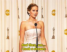 """She did it again when she was asked the """"process"""" she went through to get ready for the Oscars, because obviously. 