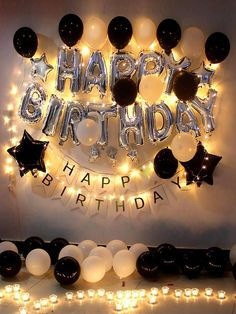 Birthday party decoration romantic balloon candle lantern room hotel KTV layout supplies balloon package romantic birthday layout happy birthday decoration male and female friends birthday gift luxury adult black and white balloon package - - Birthday Goals, Birthday Party For Teens, Birthday Room Surprise, Birthday Celebration, Birthday Surprises For Him, Birthday Ideas For Girlfriend, 25th Birthday Ideas For Him, Hotel Birthday Parties, Gold Birthday Party