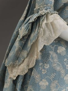 Detail of sleeve: Dress, French, c 1760, silk brocade. Indianapolis Museum of Art.