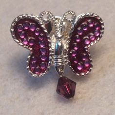 Butterfly pin Purple and silver colored butterfly pin. Pin is smaller than the size of a quarter 🌸 cute for spring 💠 offers welcome 💠 Jewelry Brooches