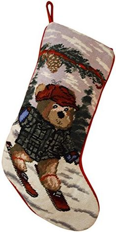Christmas stockings with bear skiing can be personalized separately, large christmas stocking holders for gift fillers and stuffers, great xmas stocking for kids and pets | Christmas Stockings Bear >>> You can find out more details at the link of the image. (This is an affiliate link) #ChristmasGiftIdeasDad