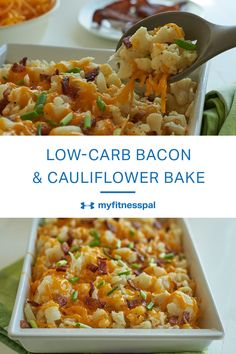 Bake up this low-carb cauliflower casserole topped with bacon and cheese.