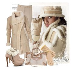 """""""Winter Nude"""" by sella103 ❤ liked on Polyvore featuring Victoria's Secret, GUESS, Isotoner and Balenciaga"""