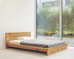 Solid wood bed MO by Philipp Mainzer. / www.e15.com #e15 #oak #window #facade