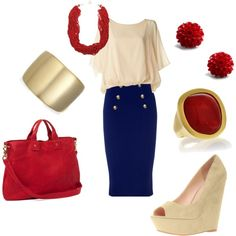 I like the creme, navy & red combo.