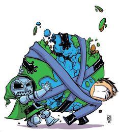 Dr. Doom vs. Mr. Fantastic - Skottie Young