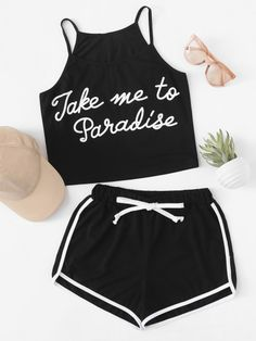 Shop Slogan print Cami With Ringer Shorts at ROMWE, discover more fashion styles online. Teen Fashion Outfits, Sporty Outfits, Swag Outfits, Trendy Outfits, Summer Outfits, Girl Outfits, Cute Pajama Sets, Cute Pjs, Cute Pajamas
