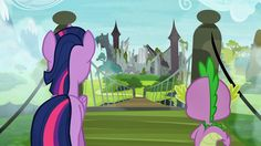 My Little Pony Friendship is Magic Season 4 Episode 3  Screenshot Wait a minute is that the castle of the royal pony sisters? That's in the Everfree forest, but, it looks different :/? Does this mean 0_0 that the Everfree forest didn't exist before Luna's banishment?!