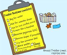 honest toddler: Honest Toddler Comic: Toddler Bedtime Checklist