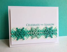 Having way too much fun tying snowflakes together!! I made another card with tied together snowflakes on it, this timeI tried them over ...