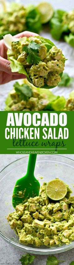 Chicken salad lettuce wraps lightened up with healthy avocado and NO mayonnaise at all! These wraps are going to quickly become a lunch favorite.                                                                                                                                                                                 More