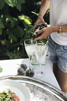 champagne and jean shorts