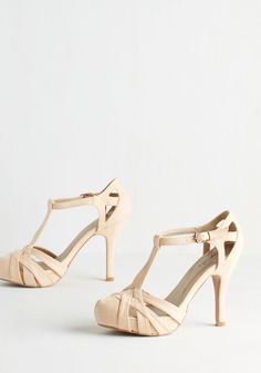 With Haute a Doubt Heel in Seashell - High, Faux Leather, Cream, Solid, Cutout, Prom, Wedding, Party, Bridesmaid, Bride, Variation