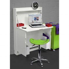 meuble bureau escamotable blanc laqu 3 suisses mais trop peu - Bureau Gain De Place