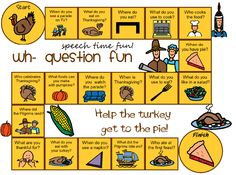 Speech Time Fun: Thanksgiving Wh- Question Board Game FREEBIE!