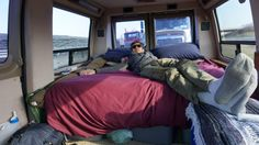 Mat relaxing on the bed in the campervan during a traffic jam - Exploring Alternatives Campervan, Lessons Learned, Ottawa, Van Life, Iowa, Road Trip, Learning, Bed, Exploring
